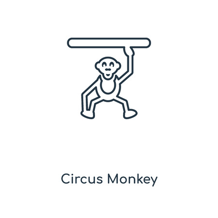 Circus Monkey concept line icon. Linear Circus Monkey concept outline symbol design. This simple element illustration can be used for web and mobile UIUX.