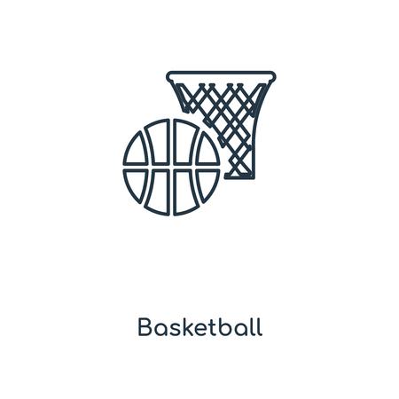 Icône de ligne de concept de basket-ball. Conception de symbole de contour de concept de basket-ball linéaire. Cette illustration d'élément simple peut être utilisée pour l'interface utilisateur/UX Web et mobile.