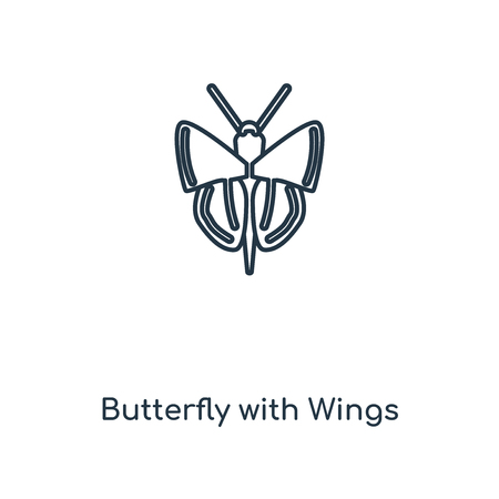 Butterfly with Wings concept line icon. Linear Butterfly with Wings concept outline symbol design. This simple element illustration can be used for web and mobile UI/UX.