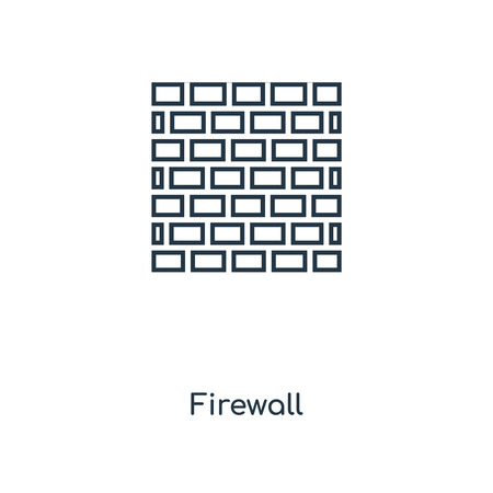 Firewall concept line icon. Linear Firewall concept outline symbol design. This simple element illustration can be used for web and mobile UI/UX. Vector Illustration