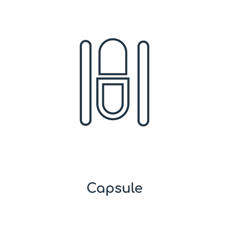 Capsule concept line icon. Linear Capsule concept outline symbol design. This simple element illustration can be used for web and mobile UI/UX.