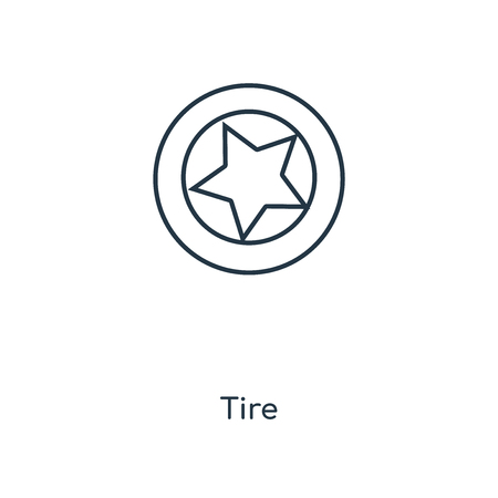 Tire concept line icon. Linear Tire concept outline symbol design. This simple element illustration can be used for web and mobile UI/UX.
