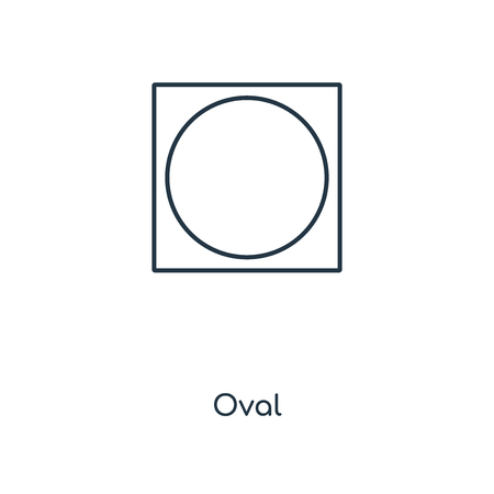 Oval concept line icon. Linear Oval concept outline symbol design. This simple element illustration can be used for web and mobile UI/UX.