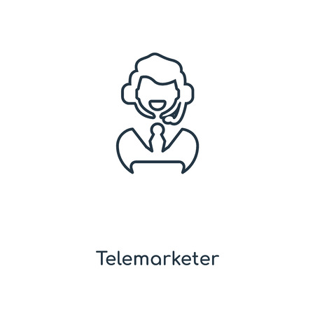 Telemarketer concept line icon. Linear Telemarketer concept outline symbol design. This simple element illustration can be used for web and mobile UI/UX.
