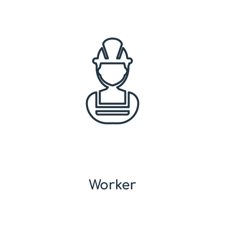 Worker concept line icon. Linear Worker concept outline symbol design. This simple element illustration can be used for web and mobile UI/UX. Illustration