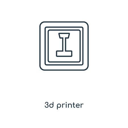 3d printer concept line icon. Linear 3d printer concept outline symbol design. This simple element illustration can be used for web and mobile UIUX.