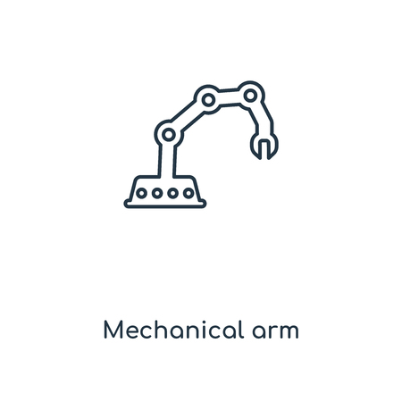 Mechanical arm concept line icon. Linear Mechanical arm concept outline symbol design. This simple element illustration can be used for web and mobile UIUX.