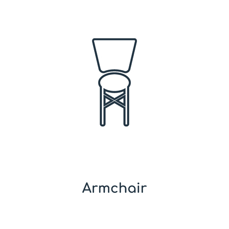 Armchair concept line icon. Linear Armchair concept outline symbol design. This simple element illustration can be used for web and mobile UI/UX. Vettoriali