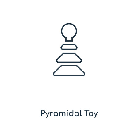 Pyramidal Toy concept line icon. Linear Pyramidal Toy concept outline symbol design. This simple element illustration can be used for web and mobile UI/UX.
