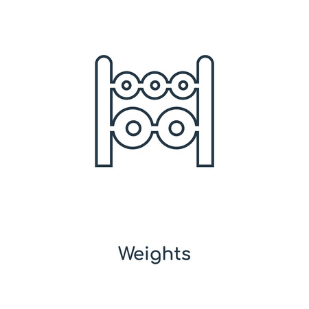 Weights concept line icon. Linear Weights concept outline symbol design. This simple element illustration can be used for web and mobile UI/UX.