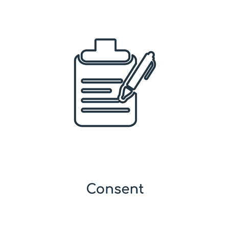 Consent concept line icon. Linear Consent concept outline symbol design. This simple element illustration can be used for web and mobile UI/UX.