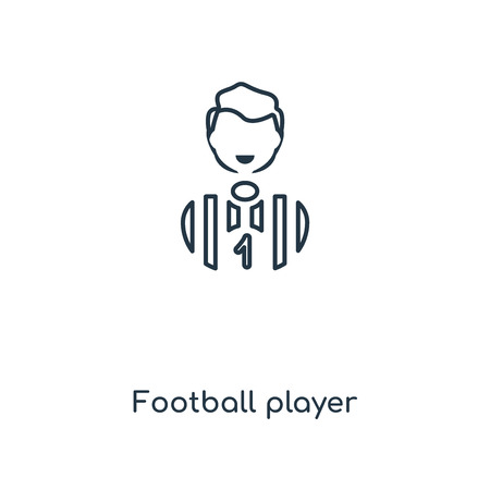 Football player concept line icon. Linear Football player concept outline symbol design. This simple element illustration can be used for web and mobile UIUX.
