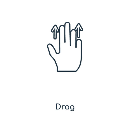 Drag concept line icon. Linear Drag concept outline symbol design. This simple element illustration can be used for web and mobile UI/UX.
