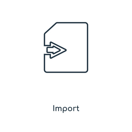 Import concept line icon. Linear Import concept outline symbol design. This simple element illustration can be used for web and mobile UI/UX.