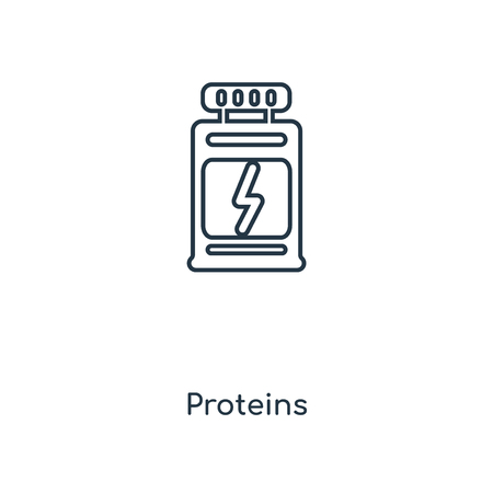 Proteins concept line icon. Linear Proteins concept outline symbol design. This simple element illustration can be used for web and mobile UI/UX.