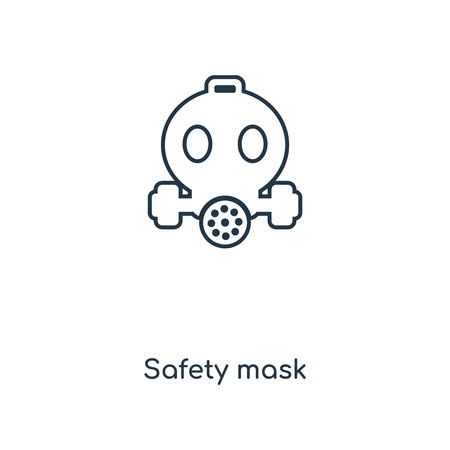 Safety mask concept line icon. Linear Safety mask concept outline symbol design. This simple element illustration can be used for web and mobile UIUX.