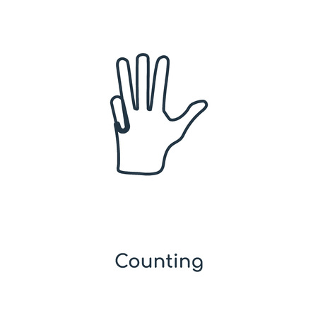 Counting concept line icon. Linear Counting concept outline symbol design. This simple element illustration can be used for web and mobile UIUX.