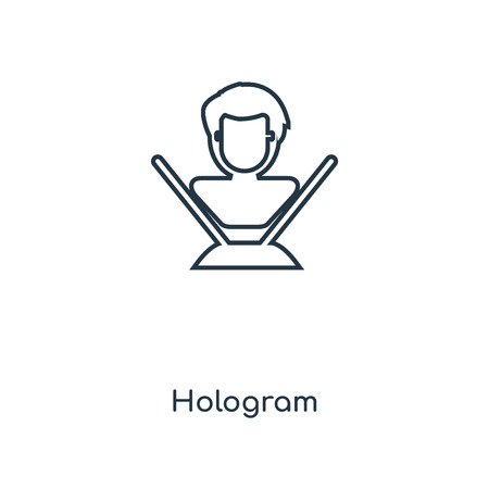 Hologram concept line icon. Linear Hologram concept outline symbol design. This simple element illustration can be used for web and mobile UI/UX. Çizim