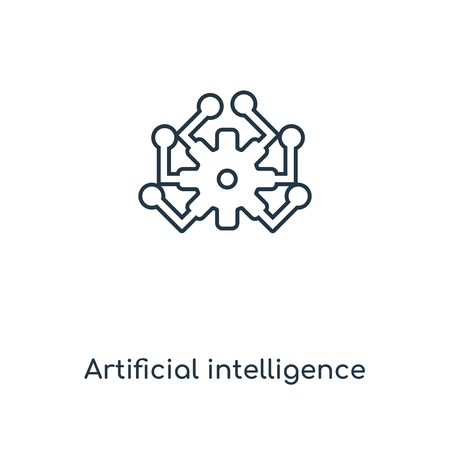 Artificial intelligence concept line icon. Linear Artificial intelligence concept outline symbol design. This simple element illustration can be used for web and mobile UIUX.