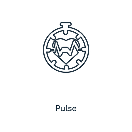 Pulse concept line icon. Linear Pulse concept outline symbol design. This simple element illustration can be used for web and mobile UI/UX. 向量圖像
