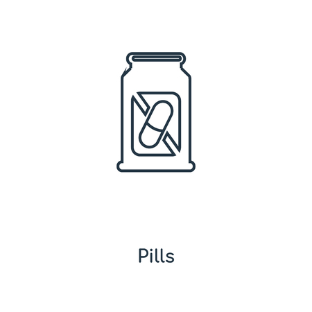 Pills concept line icon. Linear Pills concept outline symbol design. This simple element illustration can be used for web and mobile UI/UX.