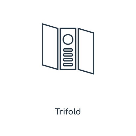 Trifold concept line icon. Linear Trifold concept outline symbol design. This simple element illustration can be used for web and mobile UI/UX.