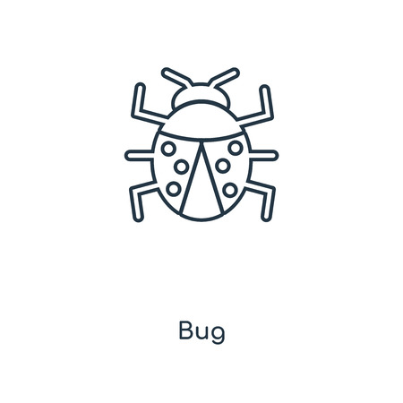 Bug concept line icon. Linear Bug concept outline symbol design. This simple element illustration can be used for web and mobile UI/UX. 일러스트