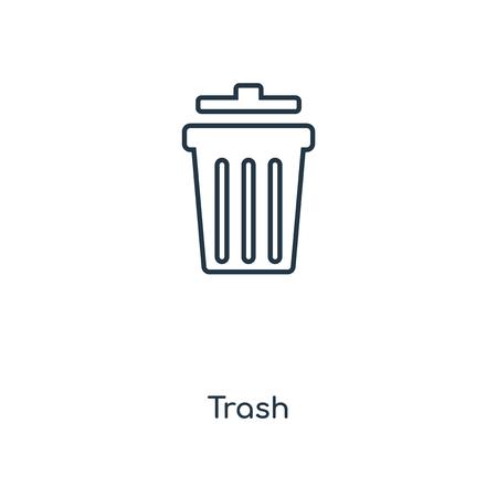 Icona della linea del concetto di cestino. Disegno di simbolo di struttura di concetto di Cestino lineare. Questa semplice illustrazione dell'elemento può essere utilizzata per UI/UX mobile e web.