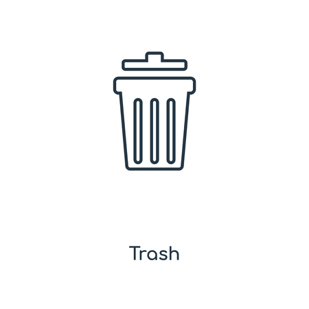 Trash concept line icon. Linear Trash concept outline symbol design. This simple element illustration can be used for web and mobile UIUX.
