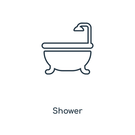 Shower concept line icon. Linear Shower concept outline symbol design. This simple element illustration can be used for web and mobile UI/UX. Archivio Fotografico - 113548295