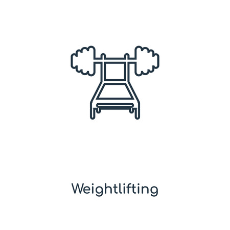 Weightlifting concept line icon. Linear Weightlifting concept outline symbol design. This simple element illustration can be used for web and mobile UI/UX.