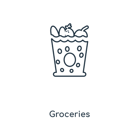 Groceries concept line icon. Linear Groceries concept outline symbol design. This simple element illustration can be used for web and mobile UIUX. Çizim