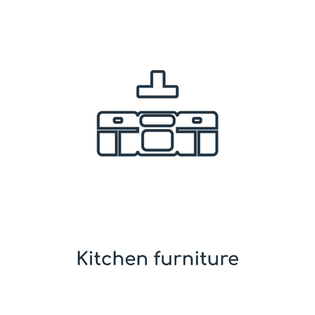 Kitchen furniture concept line icon. Linear Kitchen furniture concept outline symbol design. This simple element illustration can be used for web and mobile UI/UX. Archivio Fotografico - 113548434