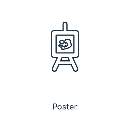 Poster concept line icon. Linear Poster concept outline symbol design. This simple element illustration can be used for web and mobile UI/UX.