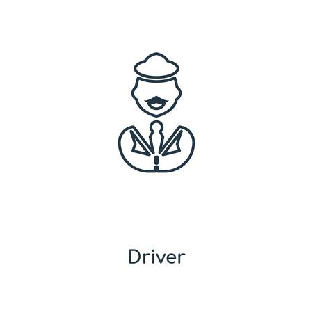 Symbol für die Leitung des Fahrerkonzepts. Lineares Treiberkonzept skizziert Symboldesign. Diese einfache Elementillustration kann für Web- und mobile UI/UX verwendet werden.