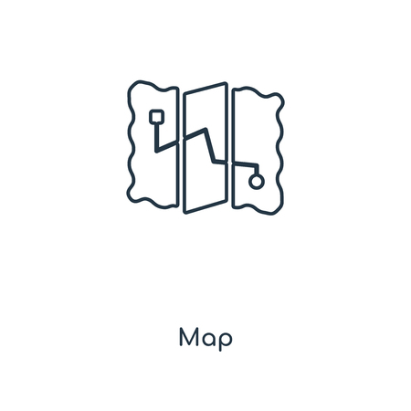 Map concept line icon. Linear Map concept outline symbol design. This simple element illustration can be used for web and mobile UI/UX. 向量圖像