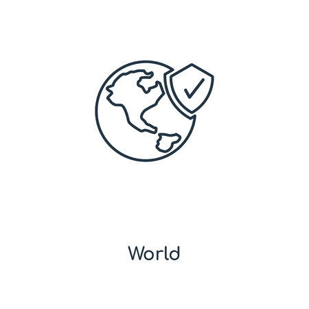 World concept line icon. Linear World concept outline symbol design. This simple element illustration can be used for web and mobile UI/UX.