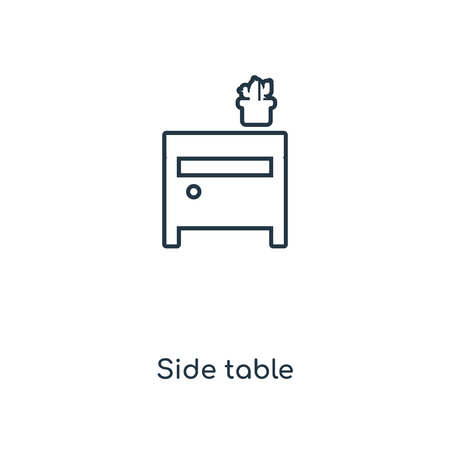 Side table concept line icon. Linear Side table concept outline symbol design. This simple element illustration can be used for web and mobile UI/UX. Vettoriali