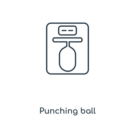 Punching ball concept line icon. Linear Punching ball concept outline symbol design. This simple element illustration can be used for web and mobile UI/UX. 矢量图像