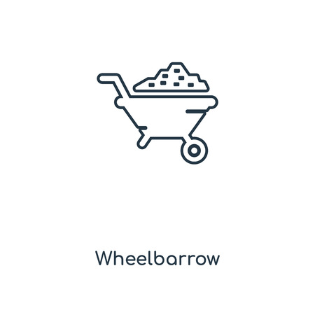 Wheelbarrow concept line icon. Linear Wheelbarrow concept outline symbol design. This simple element illustration can be used for web and mobile UIUX.