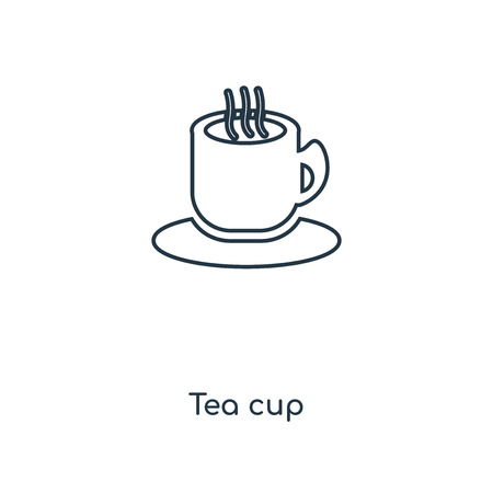 Tea cup concept line icon. Linear Tea cup concept outline symbol design. This simple element illustration can be used for web and mobile UI/UX. Standard-Bild - 113548735