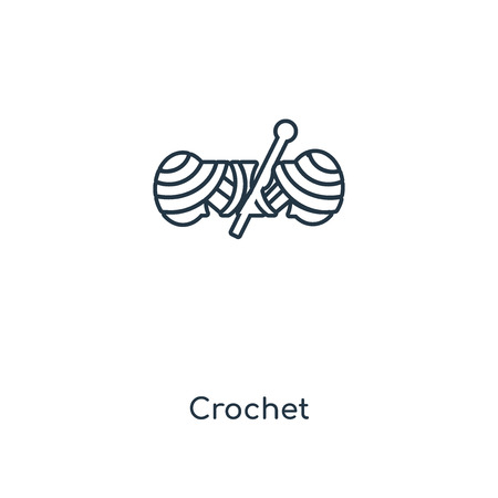 Crochet concept line icon. Linear Crochet concept outline symbol design. This simple element illustration can be used for web and mobile UI/UX.