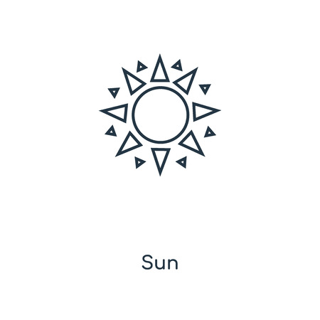 Sun concept line icon. Linear Sun concept outline symbol design. This simple element illustration can be used for web and mobile UI/UX. 矢量图像