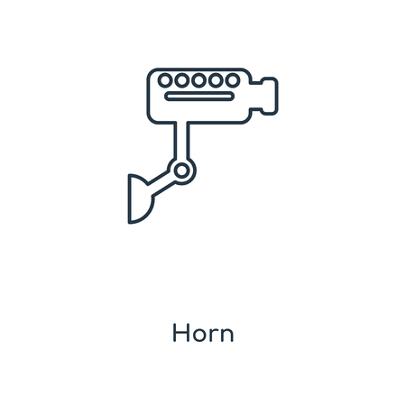 Horn concept line icon. Linear Horn concept outline symbol design. This simple element illustration can be used for web and mobile UIUX.  イラスト・ベクター素材