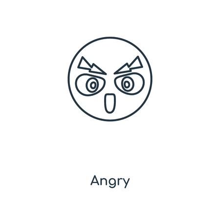 Wütend Konzept Symbol Leitung. Lineares wütendes Konzept umreißt das Symboldesign. Diese einfache Elementillustration kann für Web- und mobile UI/UX verwendet werden.
