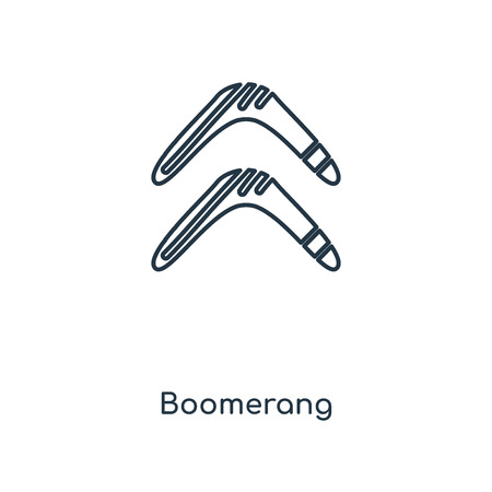 Boomerang concept line icon. Linear Boomerang concept outline symbol design. This simple element illustration can be used for web and mobile UI/UX.