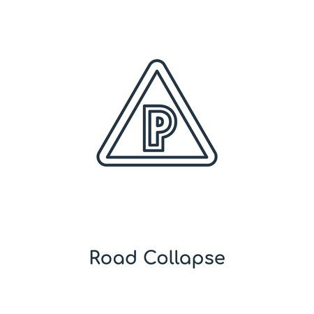 Road Collapse concept line icon. Linear Road Collapse concept outline symbol design. This simple element illustration can be used for web and mobile UI/UX. 矢量图像