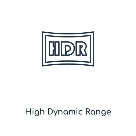 High Dynamic Range Imaging concept line icon. Linear High Dynamic Range Imaging concept outline symbol design. This simple element illustration can be used for web and mobile UI/UX. 向量圖像