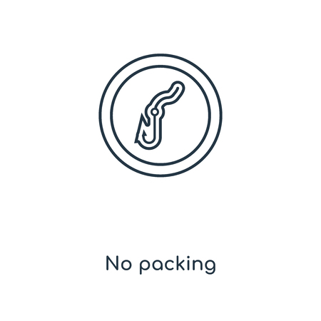 No packing concept line icon. Linear No packing concept outline symbol design. This simple element illustration can be used for web and mobile UI/UX. Иллюстрация