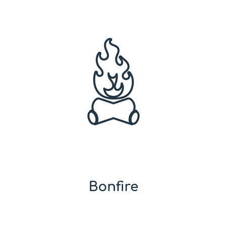 Bonfire concept line icon. Linear Bonfire concept outline symbol design. This simple element illustration can be used for web and mobile UI/UX.